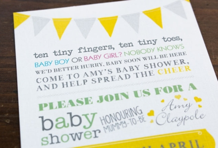 Baby Shower Invitation Close-up