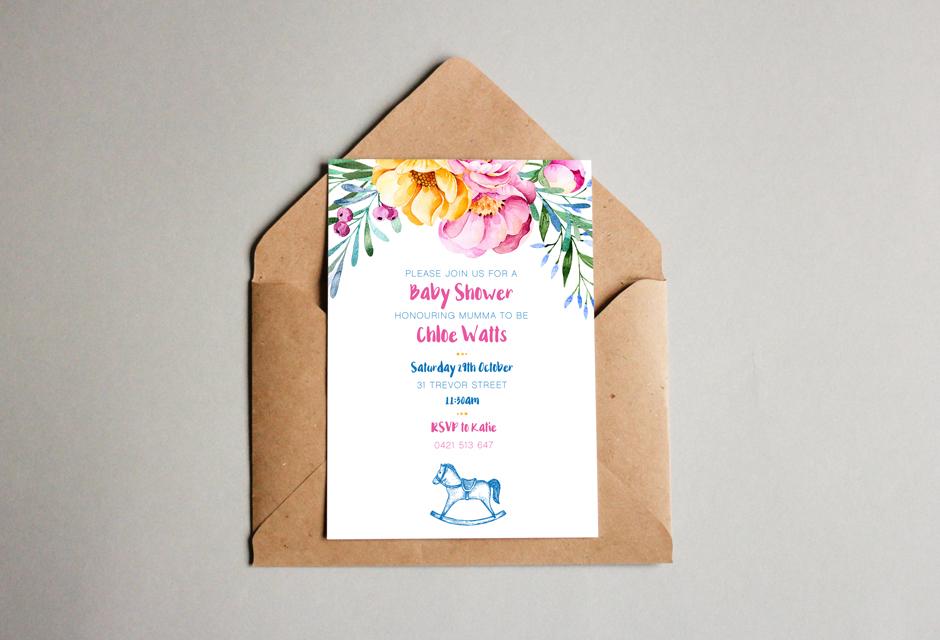 Invitation Design Mudgee Baby Shower