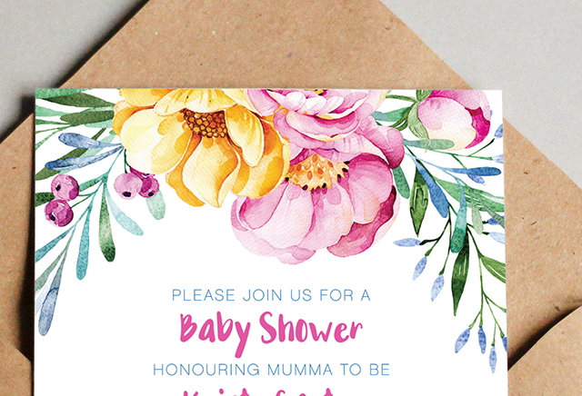 Invitation Design Mudgee Baby Shower Closeup