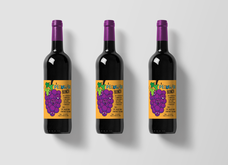 Mudgee Wine Label Design Pop Art Style Orange