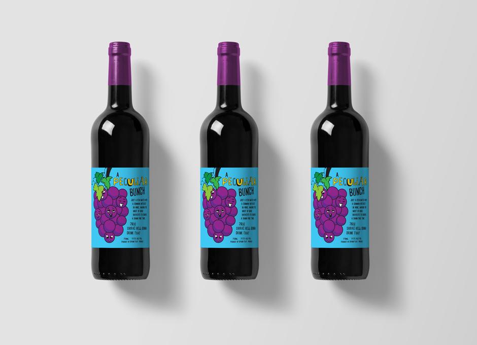 Mudgee Wine Label Design Pop Art Style Blue