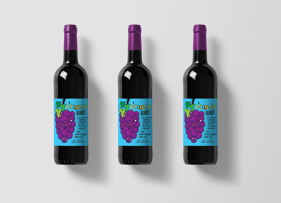 Mudgee Wine Label Design Pop Art Style Blue