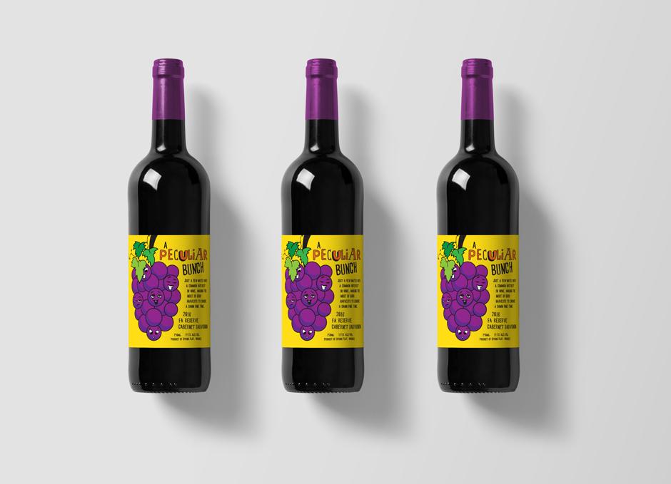 Mudgee Wine Label Design Pop Art Style Yellow