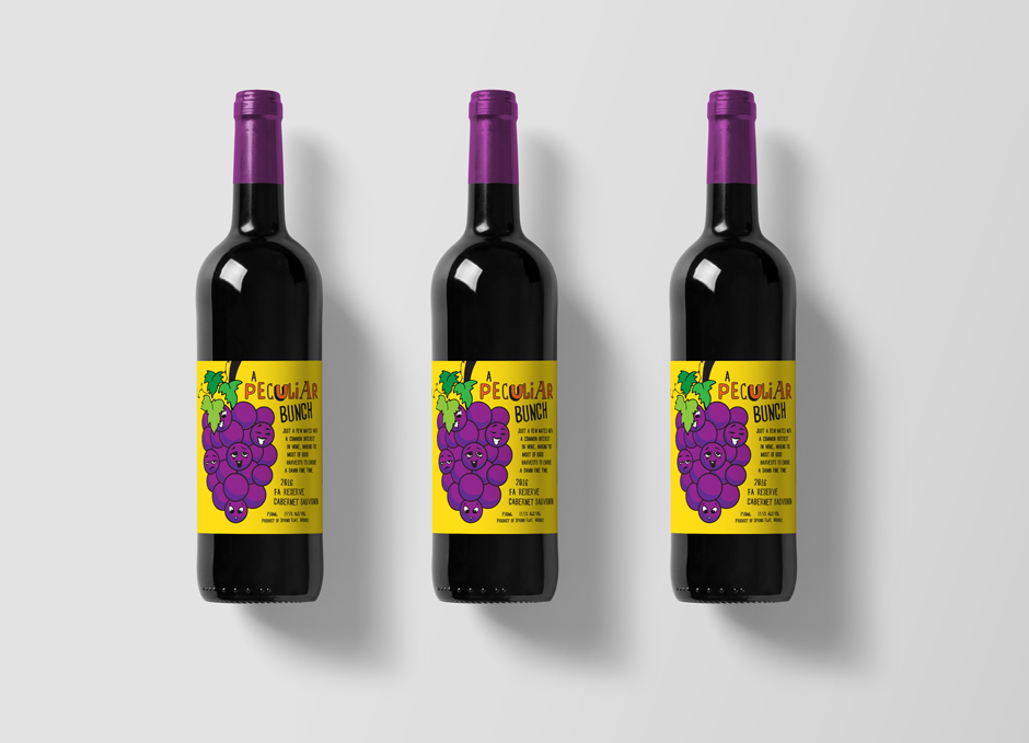 Mudgee Wine Label Design Pop Art Style Yellow