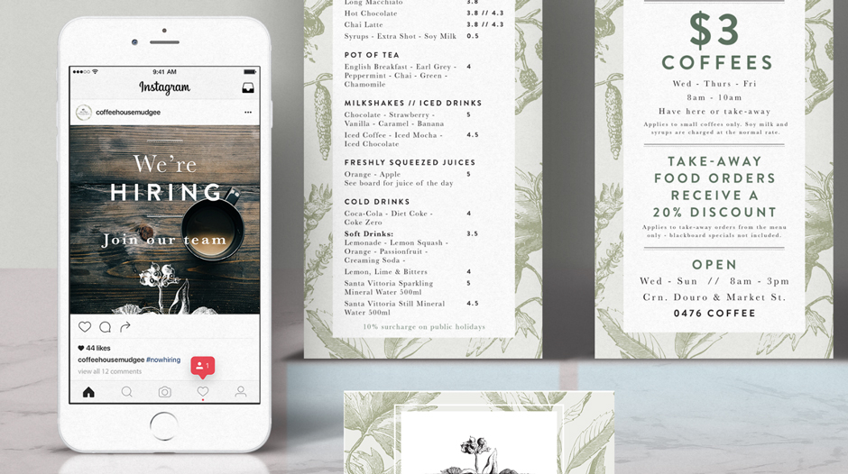 The Coffee House Mudgee Branding Design Closeup