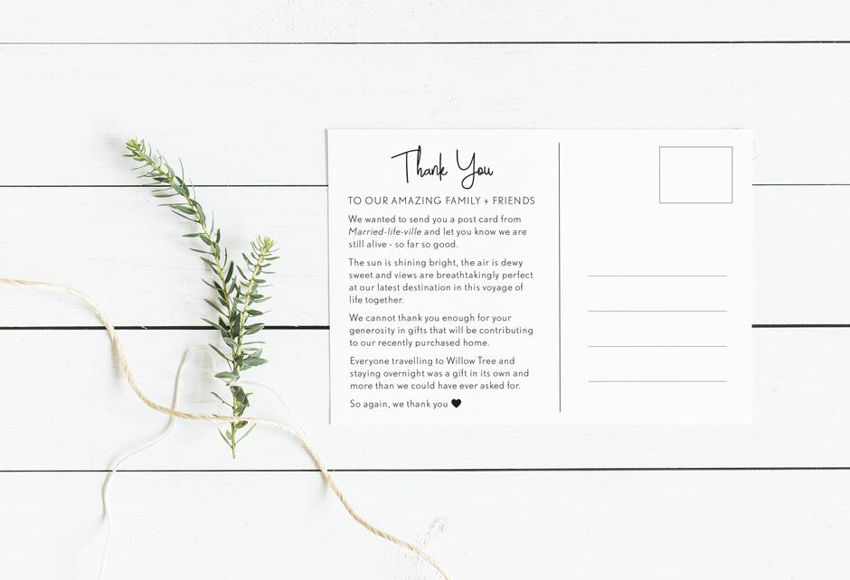 Mudgee Wedding Thank You Card Design