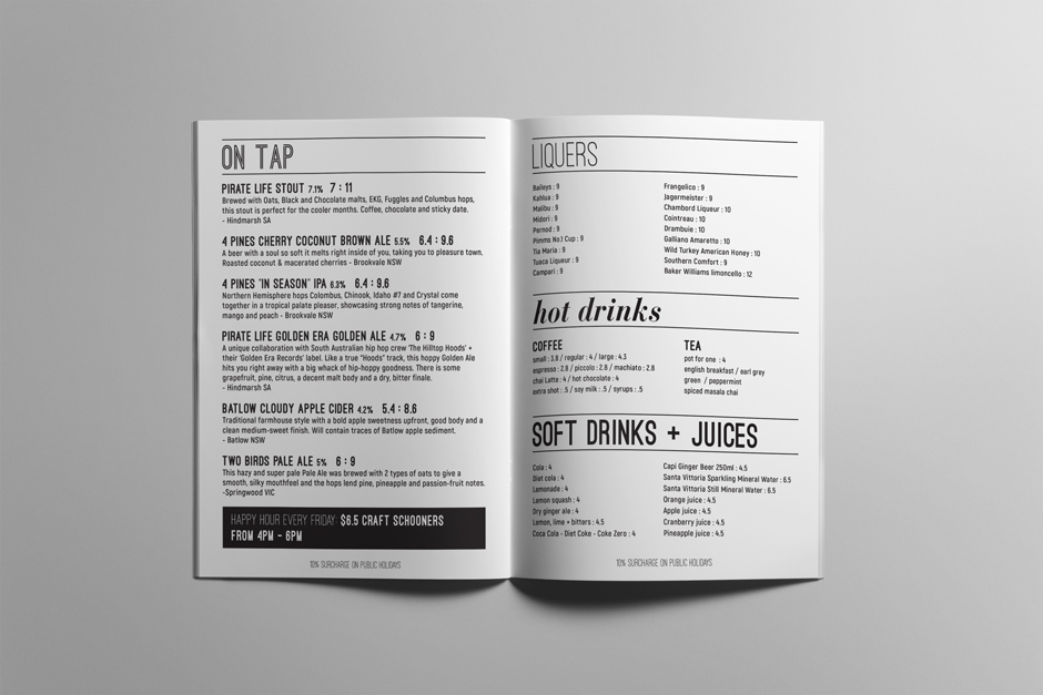 Eltons Mudgee Menu Design