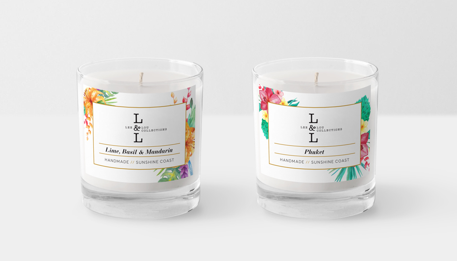 Candle Sticker Design with Tropical Flowers