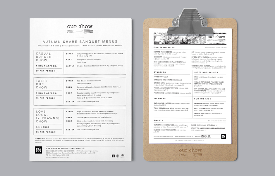 mudgee cafe menu design